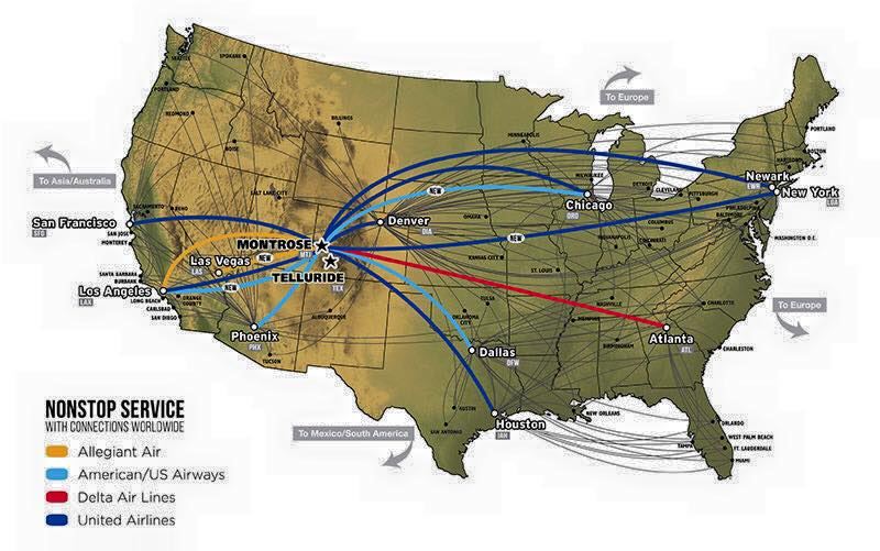 its never been easier to get to telluride check out all the non stop flights new routes from lga and las